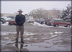sheriff's deputy guarding the school